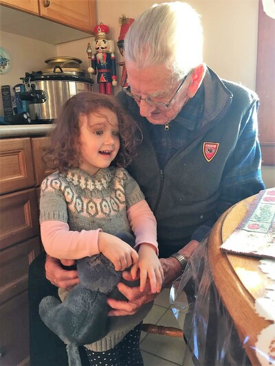 Great Grampy Joe, 95, hears what Lillian, 4, wants Santa to bring her!